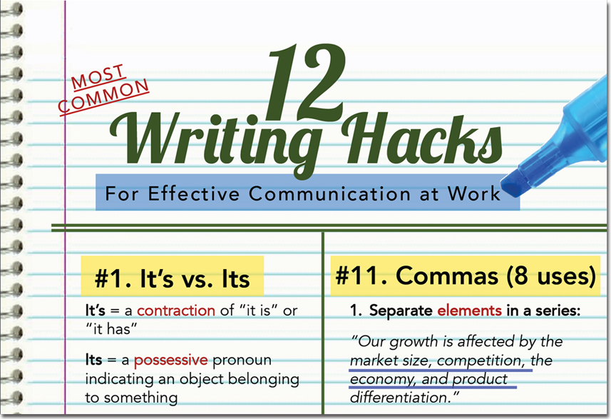 12 Most Common Writing Hacks for Effective Communication at Work (infographic)
